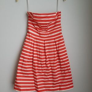 Gap coral striped strapless cocktail dress